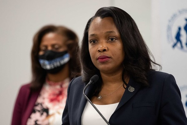 Chicago Public Schools CEO Janice Jackson announced today that a return to in-person learning will push through despite staff's concerns about COVID-19 safety. | Pat Nabong/Sun-Times