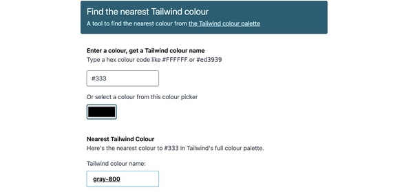 Find the nearest Tailwind Colour