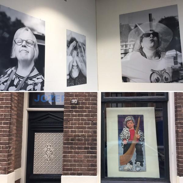 Vensterkunst in Hengelo, A-galerie (boven) en bij Jozef de Bot.