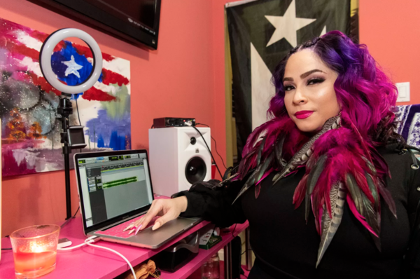 Hip-hop artist Pinqy Ring sits in her home recording studio in Logan Square. | Tyler LaRiviere/Sun-Times