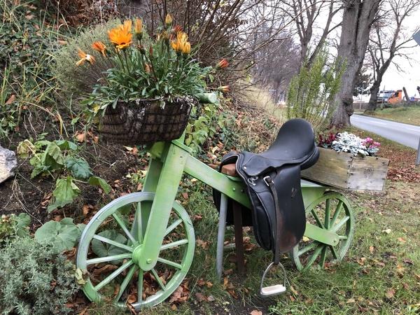 Das Blumenfahrrad steht an der Alten Gärtnerei. Foto: Cora Meyer