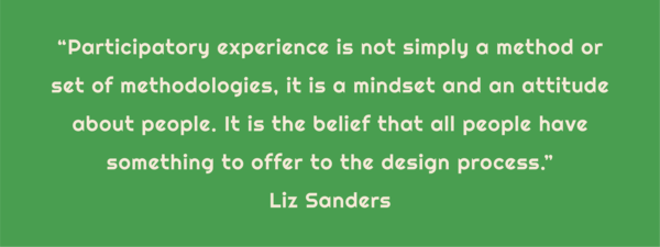 """Text: """"Participatory experience is not simply a method or set of methodologies, it is a mindset and an attitude about people. It is the belief that all people have something to offer to the design process."""" Liz Sanders"""