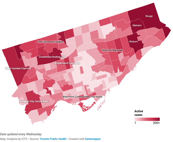 COVID-19 in Toronto: Number of Active Cases by Neighbourhood