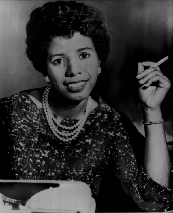 """In this photo dated April 1, 1959, Chicago playwright Lorraine Hansberry smiles after learning her play, """"A Rasin in the Sun,"""" has won the Drama Critic award for Best American Play of the season. Photo by AP."""