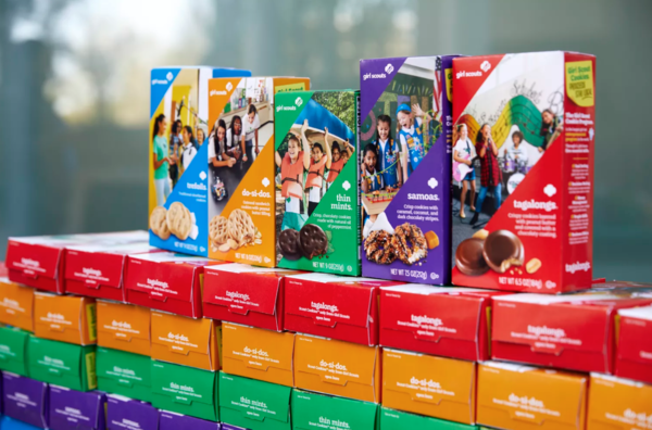 The tradition of Girl Scouts selling cookies outside of local businesses has been suspended due to the pandemic. Provided.