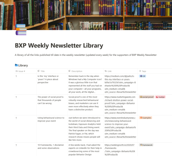 Screenshot of BXP Weekly Newsletter Library