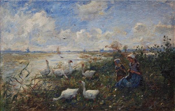 'Meisjes met ganzen aan een plas' - olieverf op doek: Cornelis Koppenol