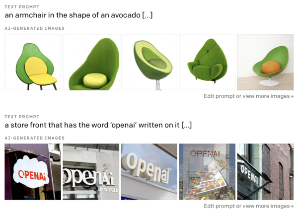 Two example prompts and resulting generated images from DALL·E