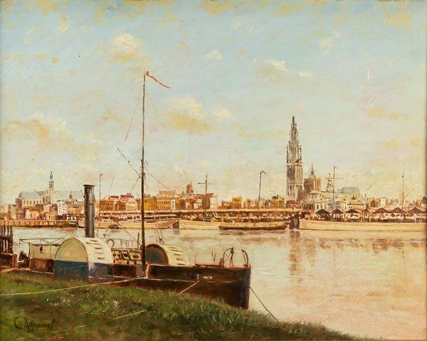 'Gezicht op Antwerpen vanaf de linkeroever' - olieverf op paneel: Cornelis Koppenol