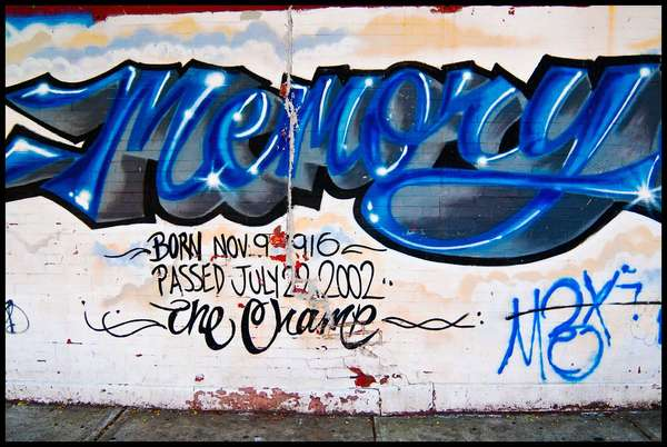 Memory, Coney Island, June 2010. There is a long tradition of RIP street art that is typically made especially when boys, mostly of color, die at a young age. It later became popular with the death of hip-hop and rap musicians who died tragically and before their time.