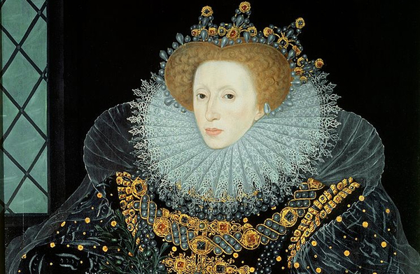 Queen Elizabeth I, The Armada Portrait, artist unknown, 1588. the Armada Portrait of Elizabeth I of England is the name of any of three surviving versions of an allegorical panel painting depicting the Tudor queen surrounded by symbols of royal majesty against a backdrop representing the defeat of the Spanish Armada in 1588.