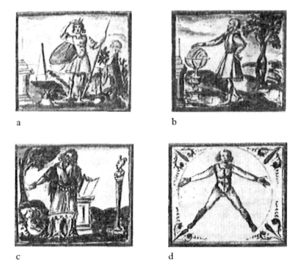 4 of 6 images illustrating the Principles of the Art of Memory From Agostino del Riccio, Arte della memoria locale, 1595, Bibliotcca Nazionale, Florence (MS. II, 1, 13) (pp. 244-6)