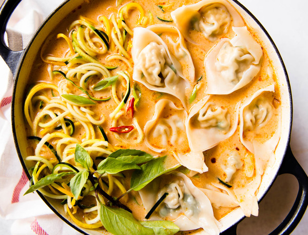 Red Curry Wonton Soup with Zucchini Noodles | Healthy Nibbles