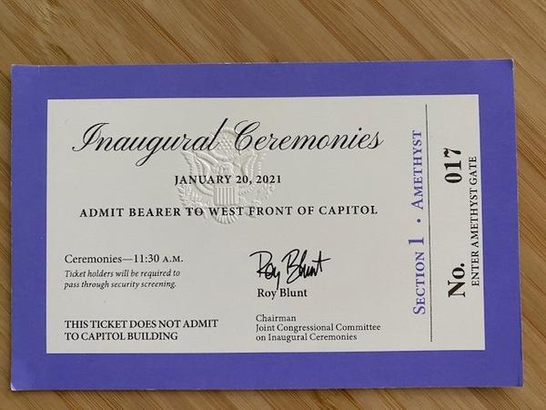 Das Ticket zur Inauguration. Foto: Fabian Reinbold