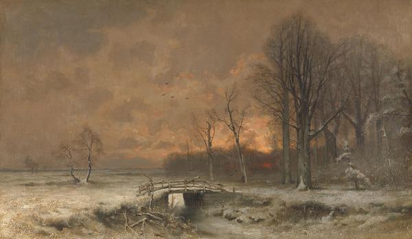 'Wintergezicht met ondergaande zon tussen geboomte' - olieverf op doek: Louis Apol (herkomst: coll. Rijksmuseum Amsterdam)