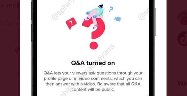 TikTok's Q&A feature.
