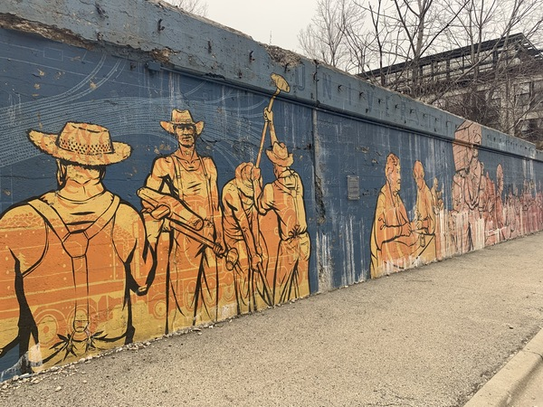 This mural at 15th and Morgan streets was painted by Nick Goettling in 2013, depicting the old Maxwell Street market and its environs. | Provided