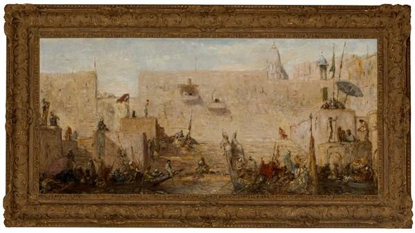 'Festival on the Ganges, Benares, India (Feestdag aan de Ganges te Benares India)' circa 1912 - olieverf op doek: Marius Bauer (herkomst: private sale Sotheby's Amsterdam)