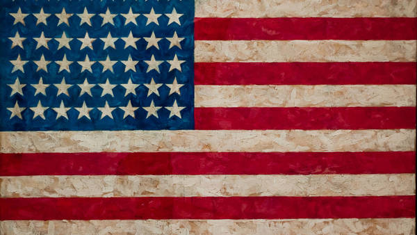 Jasper Johns, Flag (1954–55), While the image of the Stars and Stripes appears elsewhere in American art, no one transcribed the subject as literally as Johns did here.