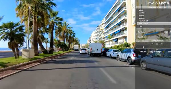 """Die Promenade des Anglais in Nizza ist eine von zahlreichen Strauf der Webseite """"Drive and Listen"""" aus Perspektive eines Autofahrers erkunden kann. Foto: Drive and Listenßen, die man a"""