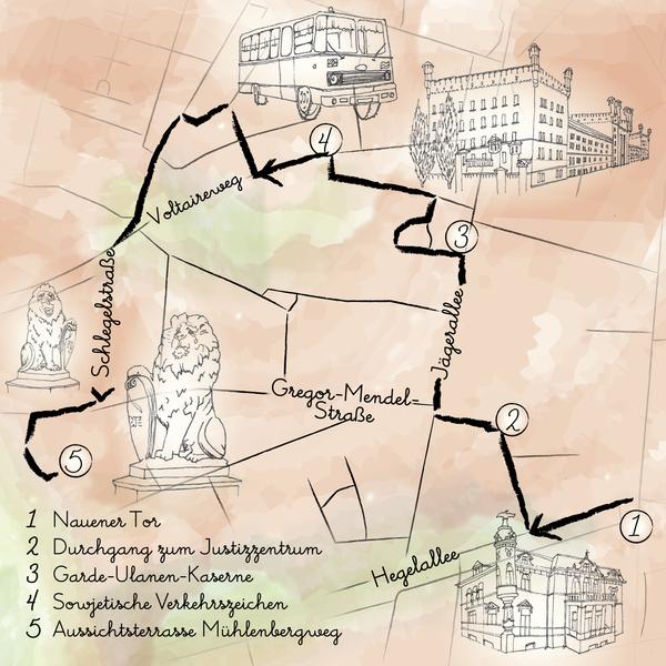 Der Spaziergang führt vom Nauener Tor zum Mühlenberg. Grafik: Gesine Thränhardt