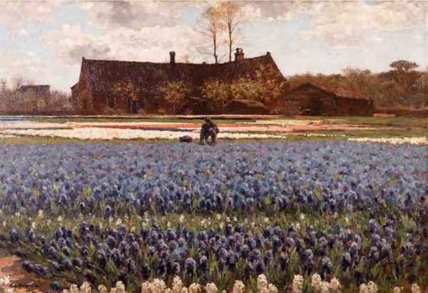 'Bloeiende hyacinten en een boerderij' - olieverf op doek: Anton Koster (herkomst: coll. Kunstmuseum Den Haag)
