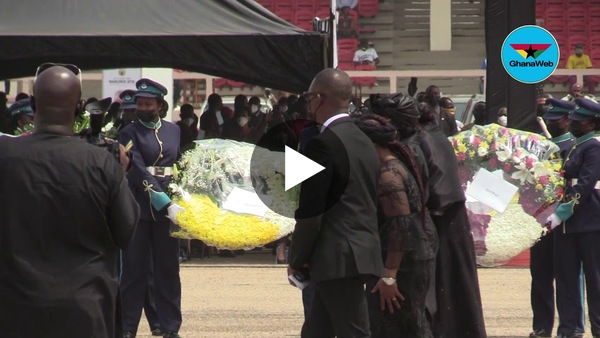Nana Konadu Agyeman Rawlings pays last respect to husband