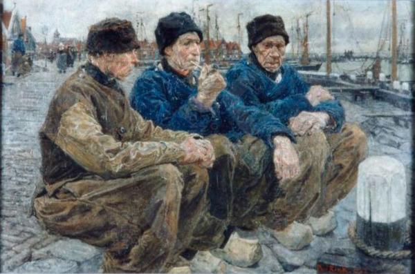 ' Drie oude Volendammers aan de havenkant' - olieverf op doek: Paul Rink (herkomst: coll. Volendams Museum