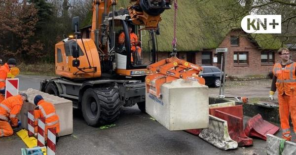 Travebrücke Herrenmühle wird mit Betonblöcken gegen Lkw-Verkehr geschützt