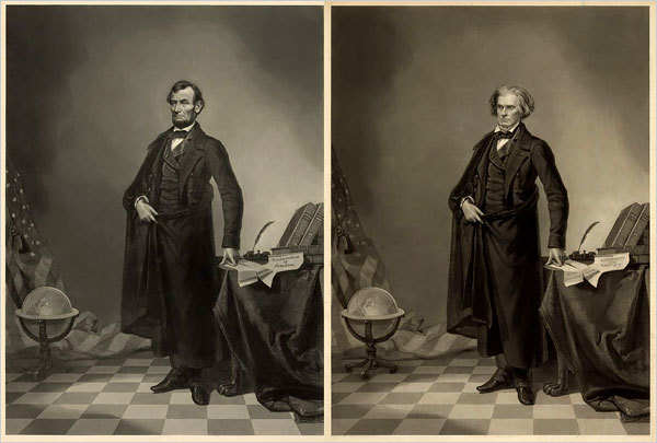 In a preview of celebrity magazine cover techniques, a popular image of Abraham Lincoln is actually his head grafted to the more majestic body of John Calhoun, a senator and vice president. Library of Congress.