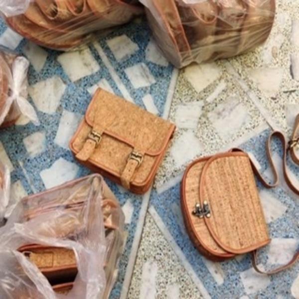 Cork leather handbags