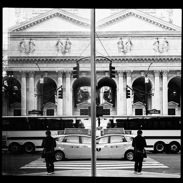 Reflections are a favorite method of adding an original perspective on a well know landmark. New York Public Library Reflected, 17 November 2019.