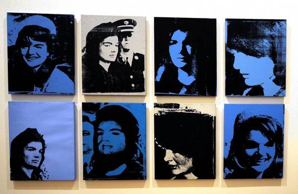 """Andy Warhol, """"Jackie,"""" 1964 (Four individual works) Acrylic and silkscreen on canvas with handmade frame 1968 Each signed, titled and dated verso 2.75″ x 2.5″."""