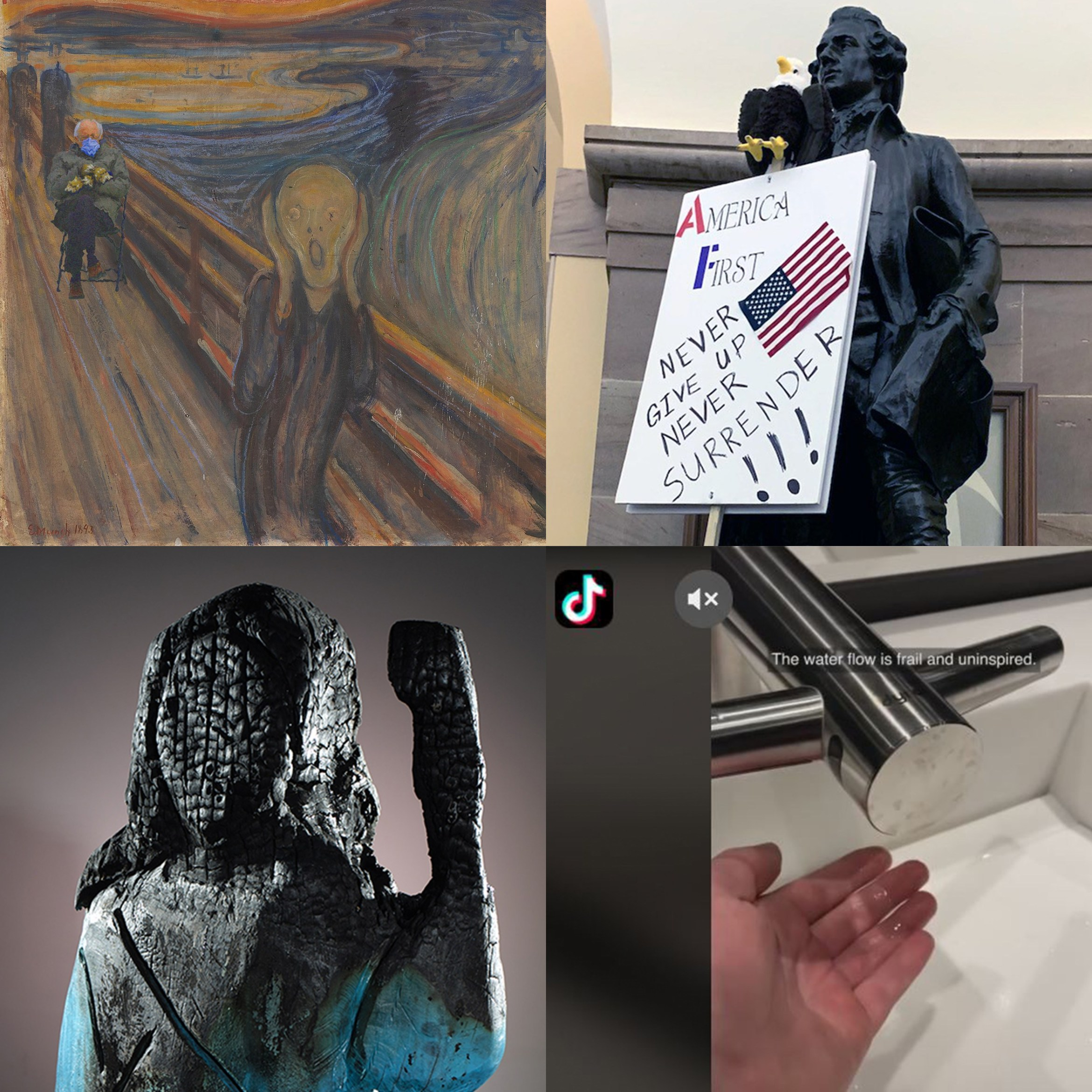 "Clockwise from top left: Bernie and his mittens in ""The Scream""; one of the vandalized statues during the DC insurrection, the anonymous sink reviewer did not like his trip to MoMA, and Brad Downey's wooden Melania sculpture after it was burned. (photos courtesy Jasmine Weber, Bucky Turco, tiktok.com/@sinkreviews, and Brad Downey)"