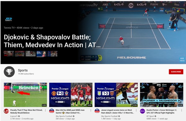 The revamped YouTube Sports