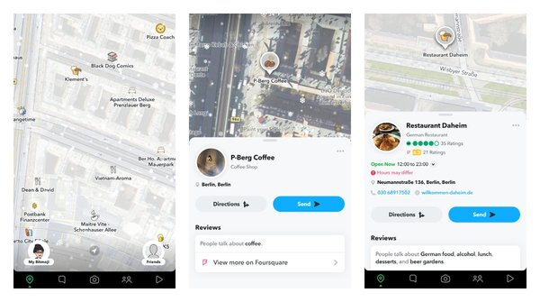 It turns out that Snapmap on Snapchat has ratings and reviews for different places that are sourced from TripAdvisor and Foursquare. It also has a weather effect that shows snow or rain animation. Not a new feature though.