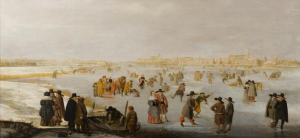 Barend Avercamp, IJsvermaak op de IJssel bij Kampen (derde kwart zeventiende eeuw), collectie Rijksmuseum Twenthe.