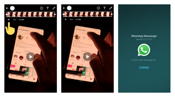 WhatsApp beta for Android got an option to mute videos before sending them to the chat