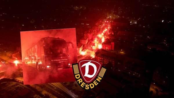 Fans empfangen Derbysieger Dynamo Dresden mit einer Pyro-Show