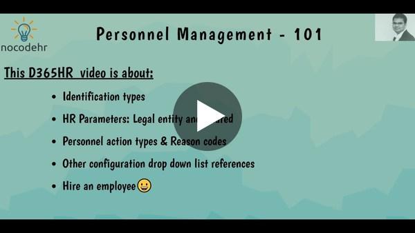 05 - D365HR101 - Personnel Management 101