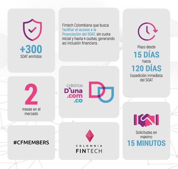 Hoy tenemos a @DUnaColombia1 en nuestro #FollowFriday 🔥 Fintech colombiana que busca facilitar el acceso a la financiación del SOAT a un click 🙌🏼