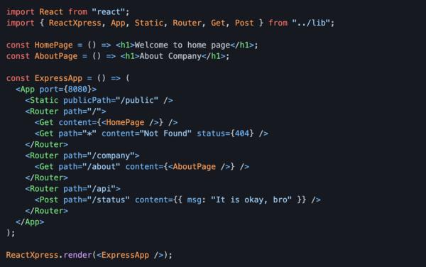 react-xpress: use React to build a Node.js server
