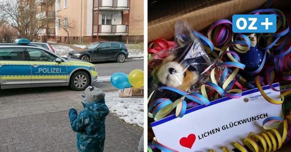 Geburtstagsparty fällt wegen Corona aus: Greifswalder Polizei überrascht Vierjährigen