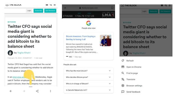 Google search app for Android is testing a bottom bar that shows other web results for the topic