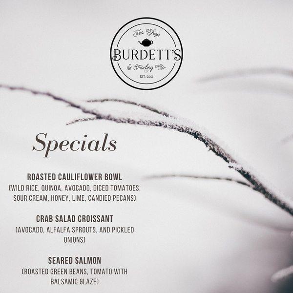 Burdett's Tea Shop & Trading Company Weekly Specials!