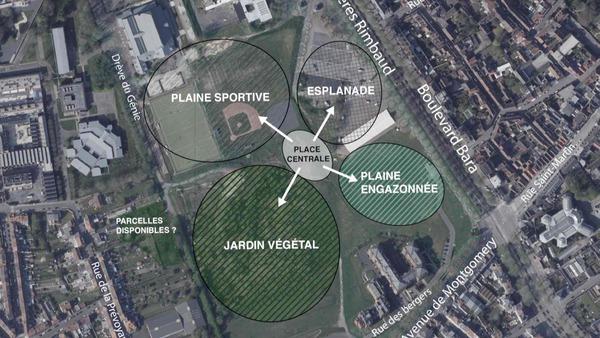 A la demande des citoyens tournaisiens, un parc urbain évolutif sera aménagé sur la Plaine des manoeuvres - Op vraag van burgers van Doornik wordt op het Plaine des manoeuvres een stadspark aangelegd