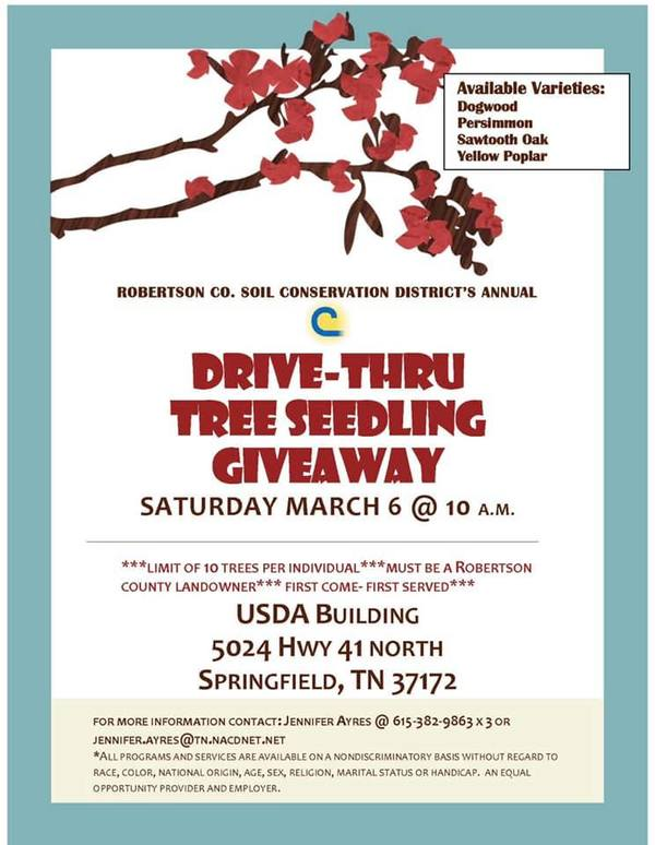 Annual Tree Seedling Giveaway on March 6th