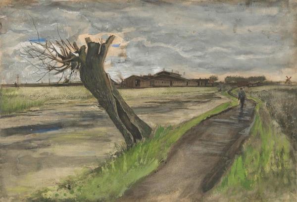 'Knotwilg' juli 1882 - potlood, inkt, waterverf, krijt, op papier: Vincent van Gogh (herkomst: coll. Van Gogh Museum, Amsterdam (Van Gogh Museum, aankoop met steun van de BankGiro Loterij, de Vincent van Gogh Stichting, de Vereniging Rembrandt en haar Themafonds Prenten en Tekeningen, het Mondriaan Fonds en het VSBfonds)