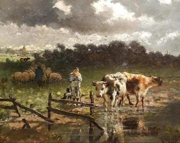 'Koeien bij een plas' - olieverf op board: Willem Hamel (Herkomst: coll. Galerie Nieuw Schoten, Haarlem)