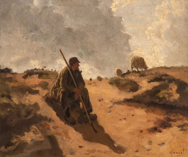 'Resting shepherd under the changing skies' - olieverf op board: Willem Hamel (herkomst: Adams Amsterdam Auctions)